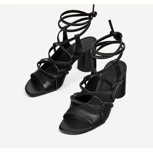 Zara Leather Strappy Heeled Sandals Block Edgy 6.5